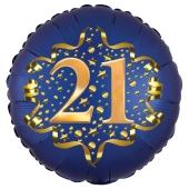Satin Navy Blue Zahl 21 Luftballon aus Folie zum 21. Geburtstag, 45 cm, Satin Luxe, heliumgefüllt