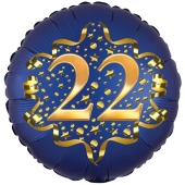 Satin Navy Blue Zahl 22 Luftballon aus Folie zum 22. Geburtstag, 45 cm, Satin Luxe, heliumgefüllt
