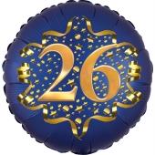 Satin Navy Blue Zahl 26 Luftballon aus Folie zum 26. Geburtstag, 45 cm, Satin Luxe, heliumgefüllt