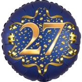 Satin Navy Blue Zahl 27 Luftballon aus Folie zum 27. Geburtstag, 45 cm, Satin Luxe, heliumgefüllt