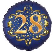 Satin Navy Blue Zahl 28 Luftballon aus Folie zum 28. Geburtstag, 45 cm, Satin Luxe, heliumgefüllt