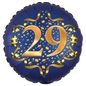Satin Navy Blue Zahl 29 Luftballon aus Folie zum 29. Geburtstag, 45 cm, Satin Luxe, heliumgefüllt