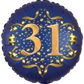 Satin Navy Blue Zahl 31 Luftballon aus Folie zum 31. Geburtstag, 45 cm, Satin Luxe, heliumgefüllt