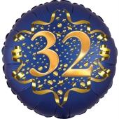 Satin Navy Blue Zahl 32 Luftballon aus Folie zum 32. Geburtstag, 45 cm, Satin Luxe, heliumgefüllt