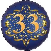 Satin Navy Blue Zahl 33 Luftballon aus Folie zum 33. Geburtstag, 45 cm, Satin Luxe, heliumgefüllt