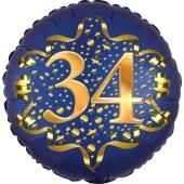Satin Navy Blue Zahl 34 Luftballon aus Folie zum 34. Geburtstag, 45 cm, Satin Luxe, heliumgefüllt