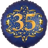 Satin Navy Blue Zahl 35 Luftballon aus Folie zum 35. Geburtstag, 45 cm, Satin Luxe, heliumgefüllt