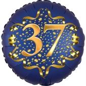 Satin Navy Blue Zahl 37 Luftballon aus Folie zum 37. Geburtstag, 45 cm, Satin Luxe, heliumgefüllt
