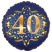 Satin Navy Blue Zahl 40 Luftballon aus Folie zum 40. Geburtstag, 45 cm, Satin Luxe, heliumgefüllt