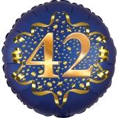 Satin Navy Blue Zahl 42 Luftballon aus Folie zum 42. Geburtstag, 45 cm, Satin Luxe, heliumgefüllt