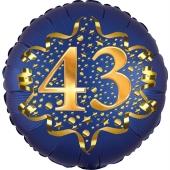 Satin Navy Blue Zahl 43 Luftballon aus Folie zum 43. Geburtstag, 45 cm, Satin Luxe, heliumgefüllt