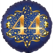 Satin Navy Blue Zahl 44 Luftballon aus Folie zum 44. Geburtstag, 45 cm, Satin Luxe, heliumgefüllt