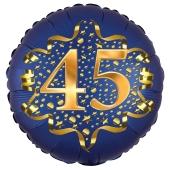 Satin Navy Blue Zahl 45 Luftballon aus Folie zum 45. Geburtstag, 45 cm, Satin Luxe, heliumgefüllt