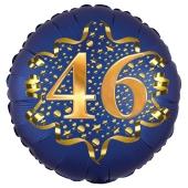 Satin Navy Blue Zahl 46 Luftballon aus Folie zum 46. Geburtstag, 45 cm, Satin Luxe, heliumgefüllt