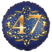 Satin Navy Blue Zahl 47 Luftballon aus Folie zum 47. Geburtstag, 45 cm, Satin Luxe, heliumgefüllt