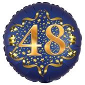 Satin Navy Blue Zahl 48 Luftballon aus Folie zum 48. Geburtstag, 45 cm, Satin Luxe, heliumgefüllt