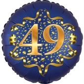 Satin Navy Blue Zahl 49 Luftballon aus Folie zum 49. Geburtstag, 45 cm, Satin Luxe, heliumgefüllt