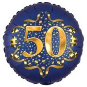 Satin Navy Blue Zahl 50 Luftballon aus Folie zum 50. Geburtstag, 45 cm, Satin Luxe, heliumgefüllt