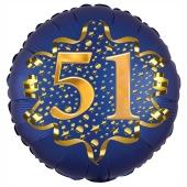 Satin Navy Blue Zahl 51 Luftballon aus Folie zum 51. Geburtstag, 45 cm, Satin Luxe, heliumgefüllt