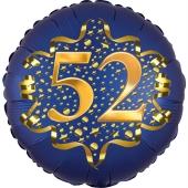 Satin Navy Blue Zahl 52 Luftballon aus Folie zum 52. Geburtstag, 45 cm, Satin Luxe, heliumgefüllt