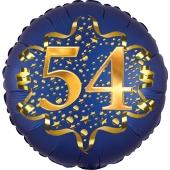 Satin Navy Blue Zahl 54 Luftballon aus Folie zum 54. Geburtstag, 45 cm, Satin Luxe, heliumgefüllt