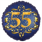 Satin Navy Blue Zahl 55 Luftballon aus Folie zum 55. Geburtstag, 45 cm, Satin Luxe, heliumgefüllt