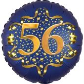 Satin Navy Blue Zahl 56 Luftballon aus Folie zum 56. Geburtstag, 45 cm, Satin Luxe, heliumgefüllt