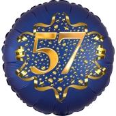 Satin Navy Blue Zahl 57 Luftballon aus Folie zum 57. Geburtstag, 45 cm, Satin Luxe, heliumgefüllt
