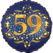 Satin Navy Blue Zahl 59 Luftballon aus Folie zum 59. Geburtstag, 45 cm, Satin Luxe, heliumgefüllt