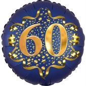 Satin Navy Blue Zahl 60 Luftballon aus Folie zum 60. Geburtstag, 45 cm, Satin Luxe, heliumgefüllt