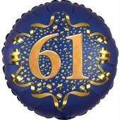 Satin Navy Blue Zahl 61 Luftballon aus Folie zum 61. Geburtstag, 45 cm, Satin Luxe, heliumgefüllt
