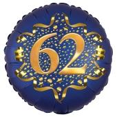 Satin Navy Blue Zahl 62 Luftballon aus Folie zum 62. Geburtstag, 45 cm, Satin Luxe, heliumgefüllt