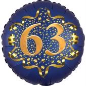 Satin Navy Blue Zahl 63 Luftballon aus Folie zum 63. Geburtstag, 45 cm, Satin Luxe, heliumgefüllt