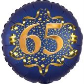Satin Navy Blue Zahl 65 Luftballon aus Folie zum 65. Geburtstag, 45 cm, Satin Luxe, heliumgefüllt