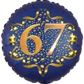 Satin Navy Blue Zahl 67 Luftballon aus Folie zum 67. Geburtstag, 45 cm, Satin Luxe, heliumgefüllt
