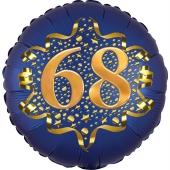 Satin Navy Blue Zahl 68 Luftballon aus Folie zum 68. Geburtstag, 45 cm, Satin Luxe, heliumgefüllt