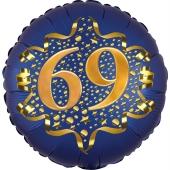 Satin Navy Blue Zahl 69 Luftballon aus Folie zum 69. Geburtstag, 45 cm, Satin Luxe, heliumgefüllt