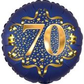 Satin Navy Blue Zahl 70 Luftballon aus Folie zum 70. Geburtstag, 45 cm, Satin Luxe, heliumgefüllt