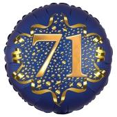 Satin Navy Blue Zahl 71 Luftballon aus Folie zum 71. Geburtstag, 45 cm, Satin Luxe, heliumgefüllt