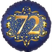 Satin Navy Blue Zahl 72 Luftballon aus Folie zum 72. Geburtstag, 45 cm, Satin Luxe, heliumgefüllt