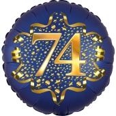 Satin Navy Blue Zahl 74 Luftballon aus Folie zum 74. Geburtstag, 45 cm, Satin Luxe, heliumgefüllt