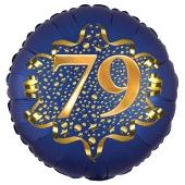 Satin Navy Blue Zahl 79 Luftballon aus Folie zum 79. Geburtstag, 45 cm, Satin Luxe, heliumgefüllt