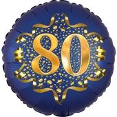 Satin Navy Blue Zahl 80 Luftballon aus Folie zum 80. Geburtstag, 45 cm, Satin Luxe, heliumgefüllt
