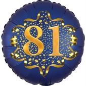 Satin Navy Blue Zahl 81 Luftballon aus Folie zum 81. Geburtstag, 45 cm, Satin Luxe, heliumgefüllt
