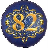 Satin Navy Blue Zahl 82 Luftballon aus Folie zum 82. Geburtstag, 45 cm, Satin Luxe, heliumgefüllt
