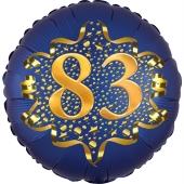 Satin Navy Blue Zahl 83 Luftballon aus Folie zum 83. Geburtstag, 45 cm, Satin Luxe, heliumgefüllt