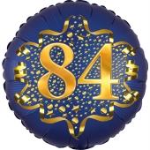 Satin Navy Blue Zahl 84 Luftballon aus Folie zum 84. Geburtstag, 45 cm, Satin Luxe, heliumgefüllt