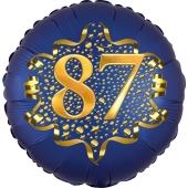 Satin Navy Blue Zahl 87 Luftballon aus Folie zum 87. Geburtstag, 45 cm, Satin Luxe, heliumgefüllt