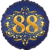 Satin Navy Blue Zahl 88 Luftballon aus Folie zum 88. Geburtstag, 45 cm, Satin Luxe, heliumgefüllt