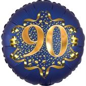 Satin Navy Blue Zahl 90 Luftballon aus Folie zum 90. Geburtstag, 45 cm, Satin Luxe, heliumgefüllt